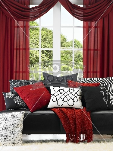 this im trying to find red accent pillows for my black leather couch