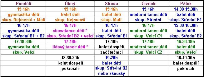 Rozvrh hodin - Olomouc :: Baletní škola Irina Popova Olomouc