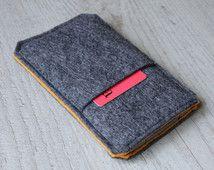Nexus 6P, 6, Nexus 5 X, 5, Nexus 4 case hoes cover hoesje handgemaakte donker voelde en oranje met zak