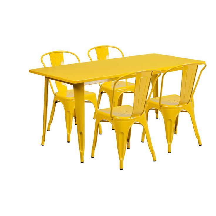 Offex Inches X 63 Home Indoor Rectangular Metal Cafe Table Set With 6 Stack Chairs Yellow Size Sets