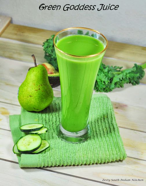 Green Goddess Juice: pear, celery, kale, avocado, green apple, lime, cukes, and spices