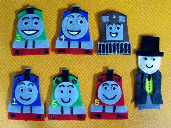 Thomas the Train Felt Finger Puppets {Etsy DIY} #gifts