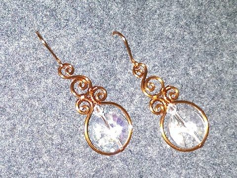 How to make wire earrings with big stones- DIY - handmade jewelry tutorials