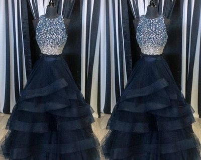 2017 Prom Dress,Unique Popular Two Pieces Beaded Organza Prom Dress,formal dress for teens