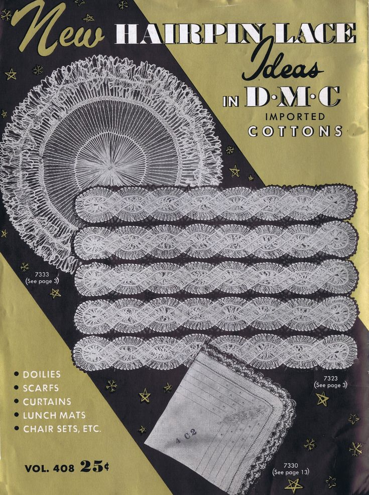 Free Vintage Hairpin Maltese Lace Crochet Patterns Vintage DMC New Hairpin Lace Ideas Crochet Pattern Book Volume 408, a digital reproduction published in 1954