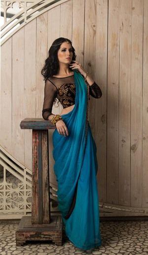 Chhavvi Aggarwal Blue Saree ♦ℬїт¢ℌαℓї¢їøυ﹩♦