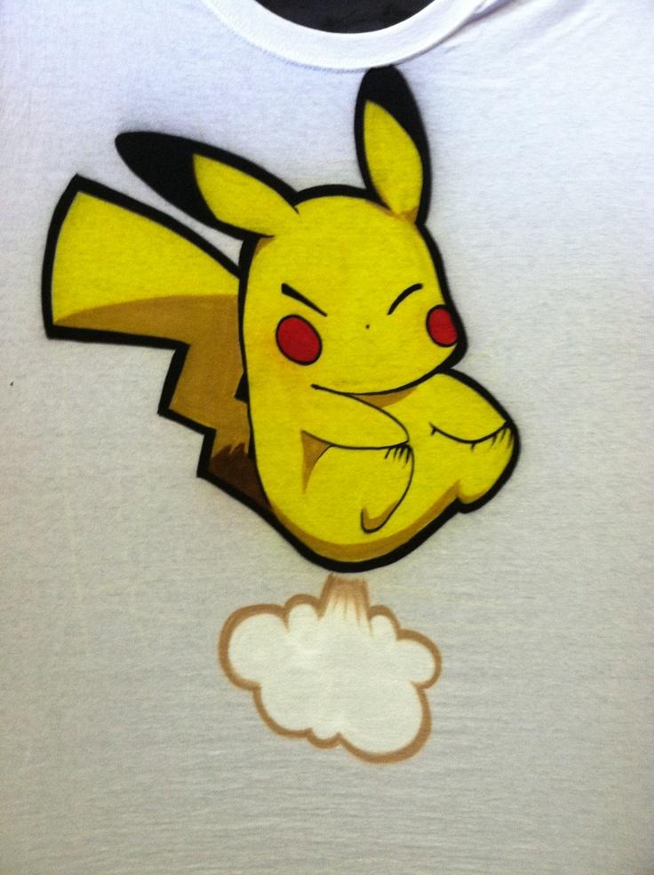 Pikachu fart airbrush t-shirt | Airbrush t-shirts ...