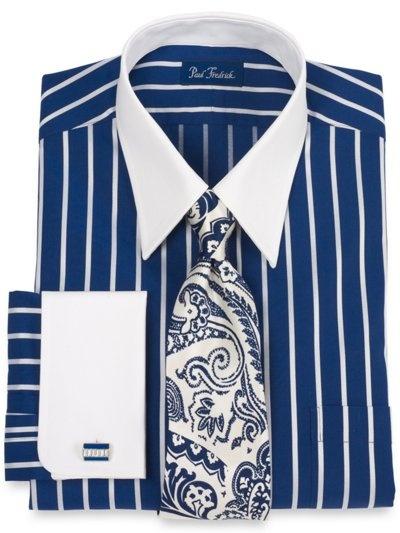2-ply Cotton Satin Stripe Straight Collar French Cuff Trim Fit Dress Shirt (All Three Colors)    http://www.paulfredrick.com/catalog/PFProductDetails.aspx?category=Dressshirts=DHG849F=NOWEGR