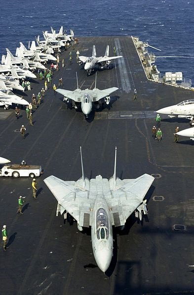 DANGER-ZONE: U.S. Navy Grumman F-14A Tomcats from Fighter Squadrons VF-14 and VF-41 prepare to take off from the flight deck of USS Enterprise a final time on 9 November 2001. This was the last time the 34 year-old aircraft will be deploying on the carrier. USS Enterprise (CVN-65) was returning to her homeport in Norfolk, Virginia after completing a regularly scheduled deployment.