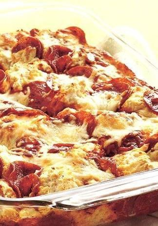 In the time it takes to order pizza online or by phone, you can have this amazingly easy pizza bake in the oven—and it'll be ready in just 35 minutes. Use whatever toppings you like, such as cooked sausage crumbles, chopped green bell pepper, onion or olives.