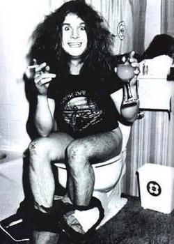 Ozzy Osbourne...lol  Someone had this as the poster in their dorm bathroom!!!!!
