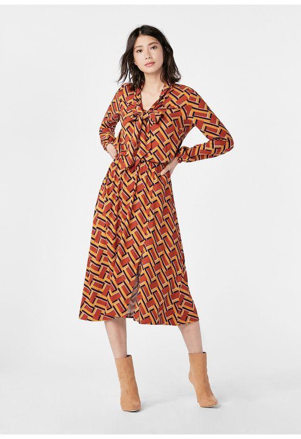 a2b186690173e JustFab Tie Neck Dress Womens Red Size XXL