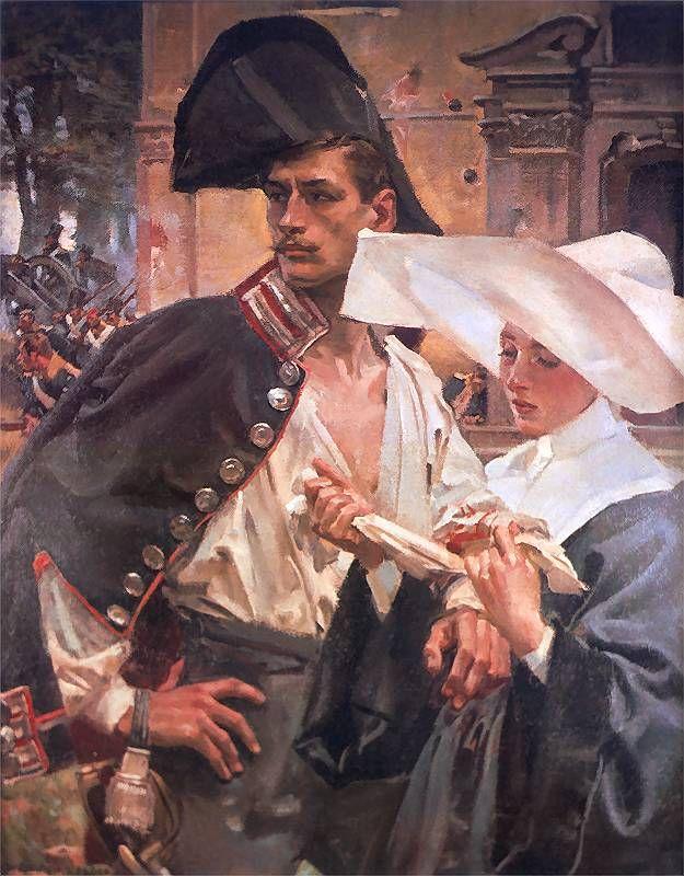 Wojciech Kossak - Siostra miłosierdzia na linii bojowej pod Warszawą, 1910