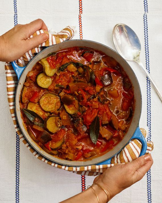 This hearty country dish from the Provence region of France is an easy mix of summer vegetables -- bell peppers, zucchini, eggplant, and tomatoes -- gently simmered with garlic and olive oil. Enjoy a bowl of it with crusty bread, or use it as a jumping-off point for breakfast, appetizers, or pasta dishes.