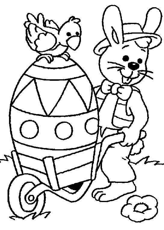 easter bunny with a giant easter egg all ready to be colored easter coloring pagescoloring