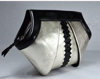 Embrayage, sac à bandoulière, or blanc et noir sac à main, beau sac à main, sac à main bandoulière, modern, élégant, luxe, mode, or en cuir