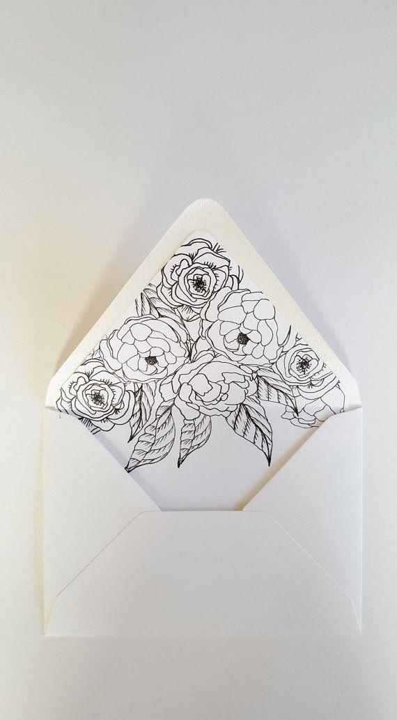 A7 Envelope Liner Artful Florals by PaperAndStyleCo on Etsy