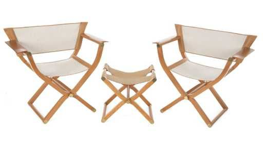 PAIR OF HERMES PIPPA FOLDING CHAIRS AND STOOL