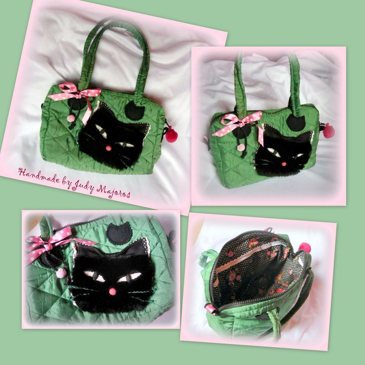 Handmade by Judy Majoros -Green quilted cat handbag-shoulder bag. Black Faux fur cat. Recycled bag