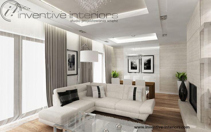 Projekt salonu Inventive Interiors - otwarty elegancki salon z beżowym narożnikiem