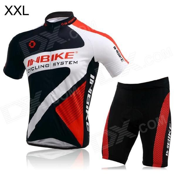 INBIKE Short Sleeves Cycling Jersey   Shorts Set for Men - Black   White   Red (Size XXL) Price: $40.10