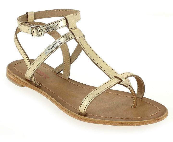Sandales plates en cuir ornées de bijouxLes Tropeziennes w967nx