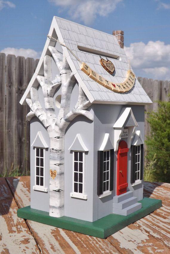 wood wedding card holders%0A Wedding Card Box Birdhouse Whimsical by mulberrylanefolkart