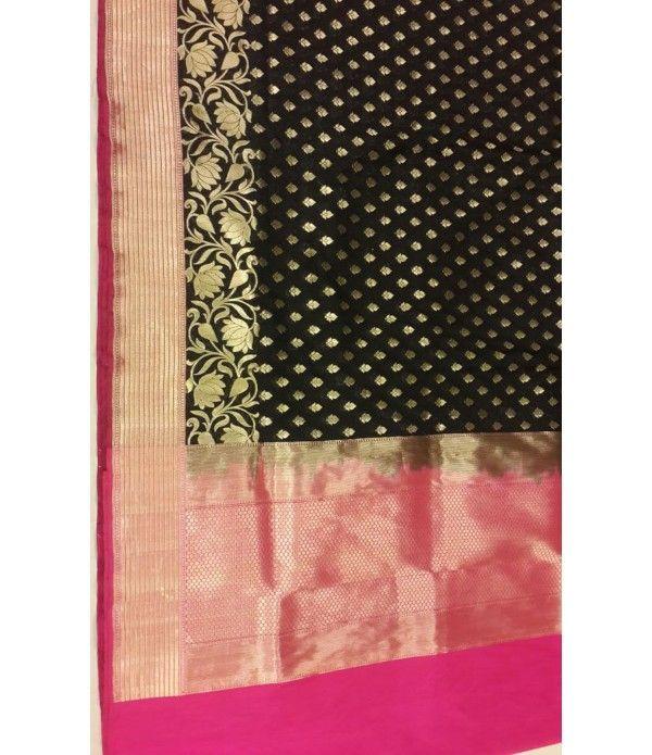 Black handloom Banarasi Pure Silk Saree-Pink Border