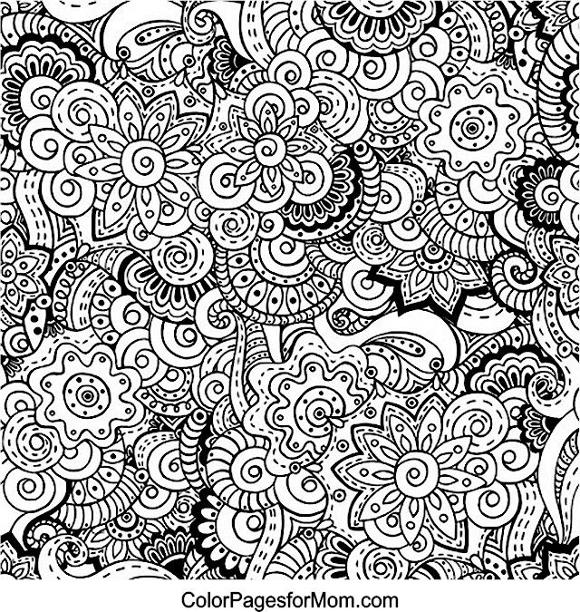 flower coloring colouring printable adult advanced detailed doodles 12 advanced coloring page