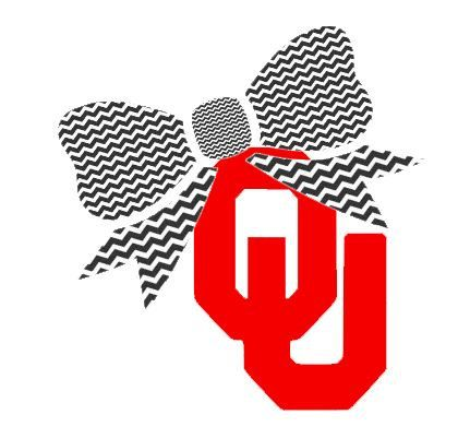 """OU with Bow Decal for Laptop, Tablet, Notebook, Car - Choose 3"""", 4"""", 5"""" or 6"""" - Choose OU Color & Bow Color"""