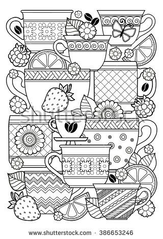 Coloring book for adult. Cups of herbal tea and coffee.Flowers and fruits…