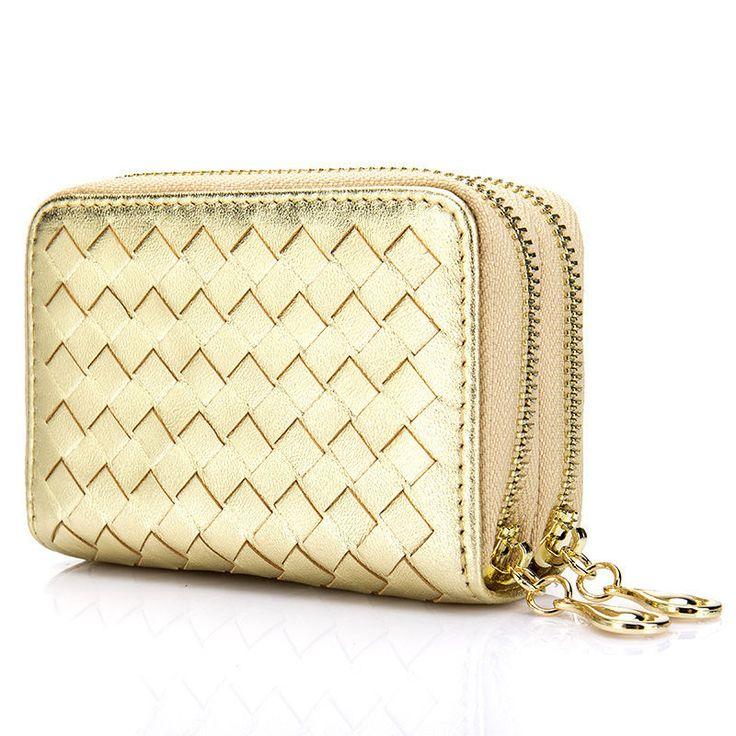 Sheepskin Hand-woven Wallet Double Zipper Large Capacity Purse Coin Card Pack | eBay