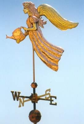 Angel Weather Vane Gardening Angel  by West Coast Weather Vanes.  An Angel Weathervane for garden lovers!  Hand crafted limited edition weather vane.  A beautiful addition when looking out the window at your garden landscape.
