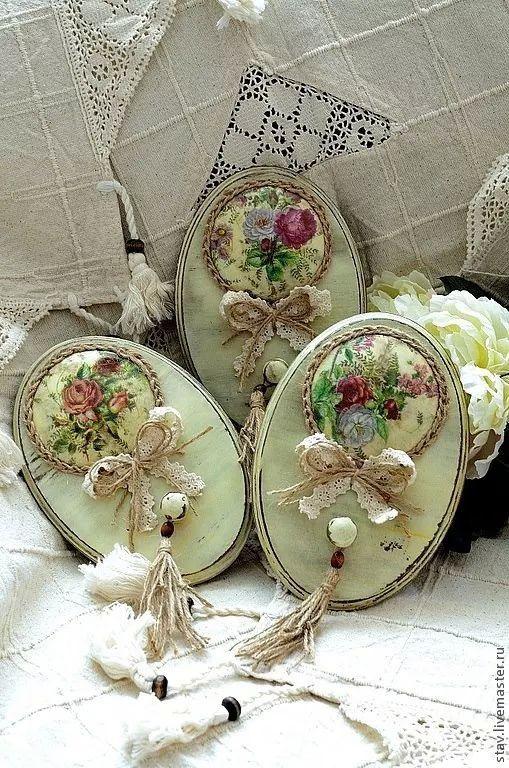 oval com laço renda e juta flores