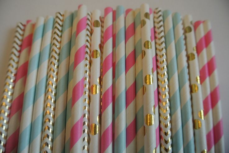 Gender Reveal Party Straws. Pink, Blue & Gold Baby Gender Reveal. Boy or Girl Reveal Party Straws. By Paper Rabbit on Etsy by PaperRabbit87 on Etsy