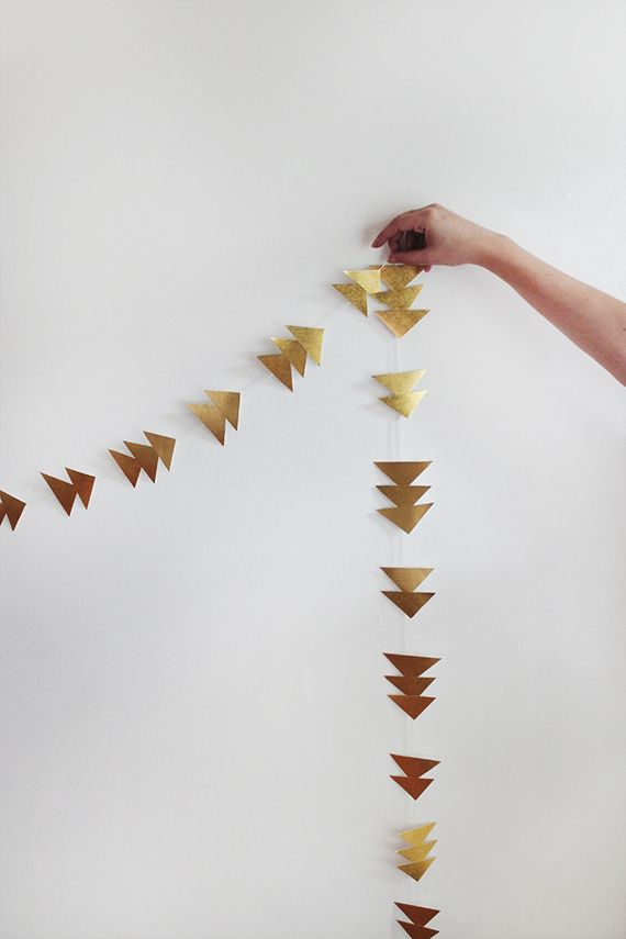 diy simple gold triangle garland | almost makes perfect