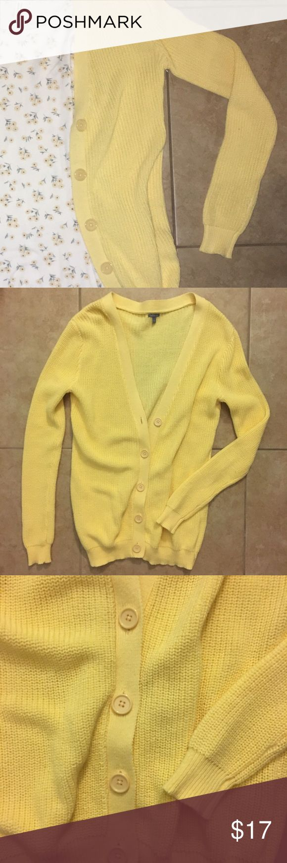 Pastel Yellow Cardigan This cute yellow cardigan can go with so many outfits and give it the extra flare! It's so cute and soft but I've never worn it so it's new with no tags. Tagged UO just for more searches but it's actually Charlotte Russe ☀️ Urban Outfitters Sweaters Cardigans