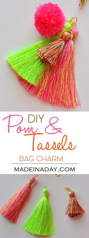 Super Easy DIY Pom & Tassel Bag Charm, Put together a simple tassel bag charm easily with jewelry findings and attach to your bag for the summer trendy look! pom pom, tassel, bag charm, tutorial on madeinaday.com via @madeinaday