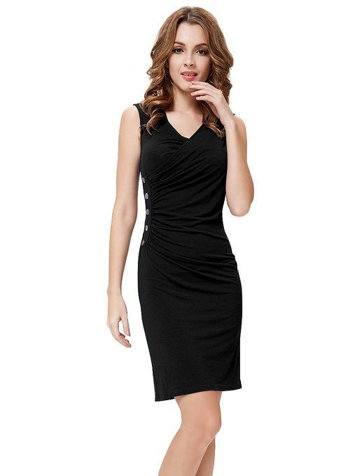 Ever Pretty Button V-neck Ruffles Sexy BNWT Short Cocktail Dress Sexy v-neck casual cocktail dress #Sexy #v-neck #casual #cocktail #dress