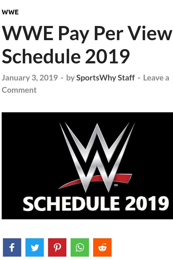 Visit to read WWE's PPV schedule for 2019 | WWE | Wwe ppv