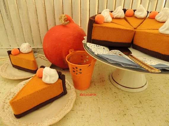 Felt Pumpkin Pie Felt Cake Play Felt Food Montessori Toy