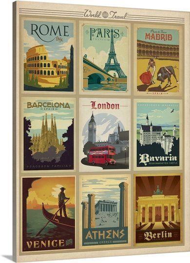 World Travel Collection I - Retro Travel Posters #Rome #Paris #Madrid #Venice #Vintage