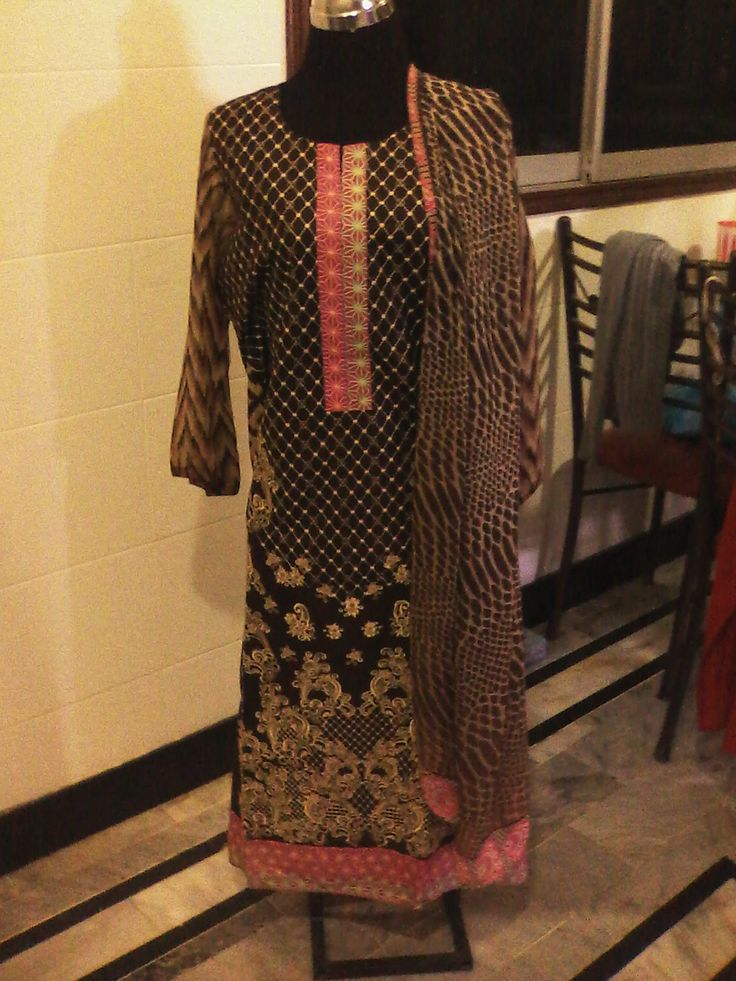 Embroidered Lawn Dress with chiffon sleeves and chiffon dupatta