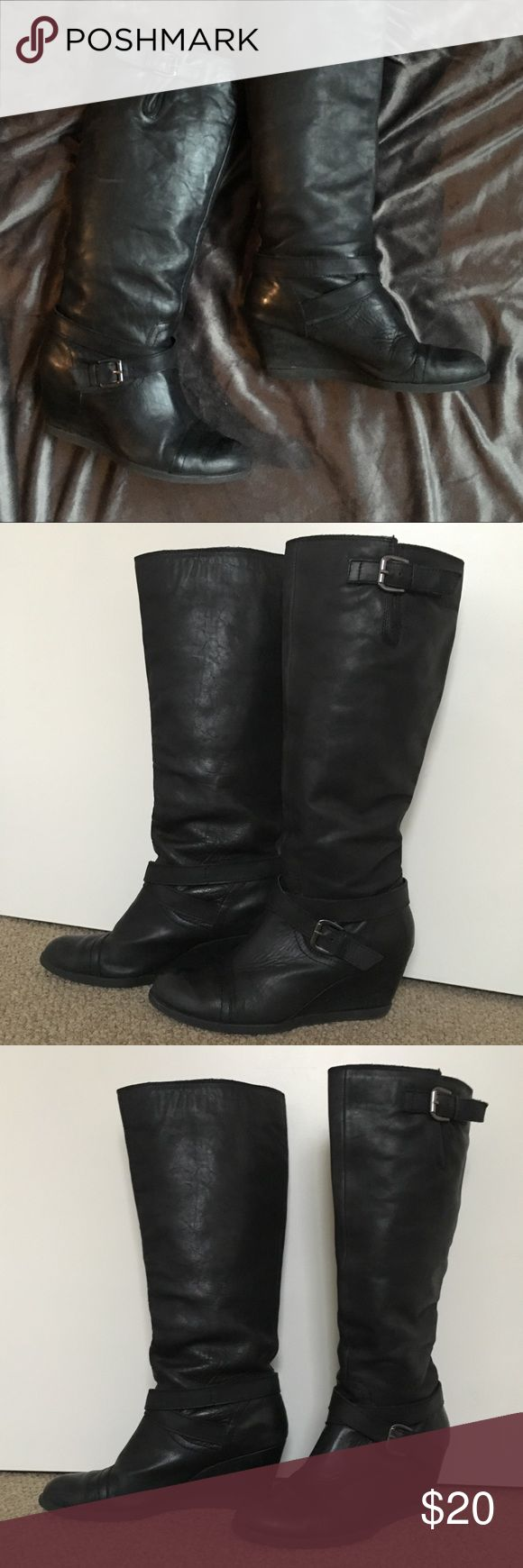 """Knee-high Boots 🖤 These boots are great quality, and comfortable too. Made of real leather exterior, and lined inside with what feels like a soft thin fleece. Accented with an ankle strap and buckle, as well as a buckle at the top that can be let in or out depending on calf size. There's a little dent on one heel, shown in photos. Otherwise recently leather conditioned and in good used condition. They are Euro size 39 with 3"""" heels. Shoes Heeled Boots"""