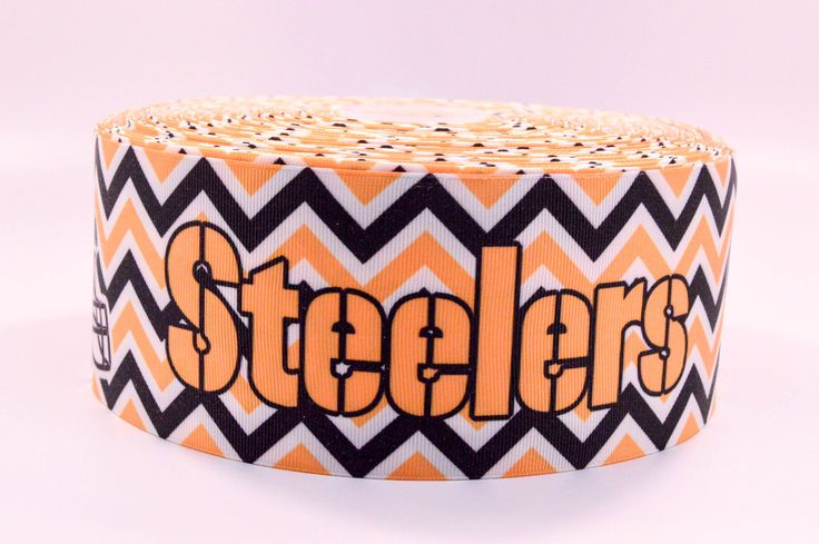 "3"" Wide Chevron Pitsburgh Steelers Printed on White Grosgrain Cheer Bow Ribbon"