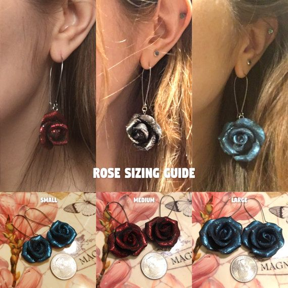 This listing is for a made to order set of hand sculpted Single Rose Drop Earrings. Choose your rose size and color at checkout. These earrings are set on long, surgical steel grade kidney ear wires. Simple and beautifully elegant!  Dont see the color you want listed? Feel free to message me and choose your own custom color combination at checkout. I have a variety of clay colors and glitter colors to choose from so dont hesitate to ask!  All items are hand made to order so there will be…