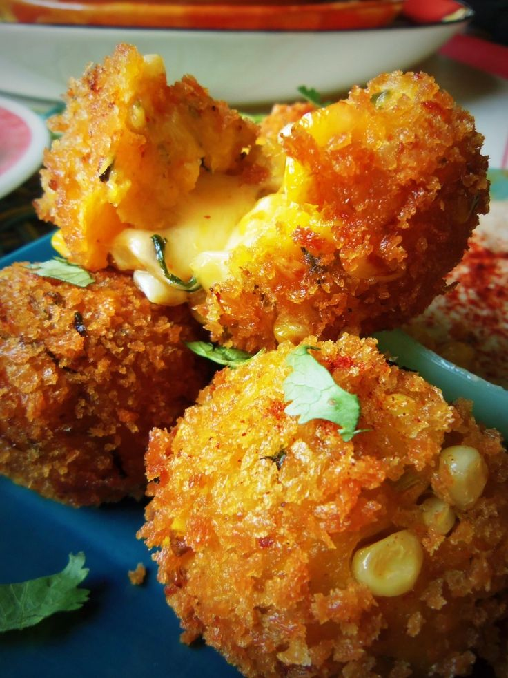Cheese Filled Plantain & Corn Fritters =-= from Hispanic Kitchen, Oozing with Mmm, Melt in Your Mouth YUM !!