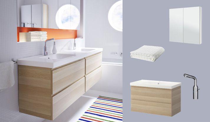 GODMORGON/ODENSVIK meuble lavabo avec deux tiroirs, chêne teinté blanc, et j'aime beaucoup la niche sous le miroir