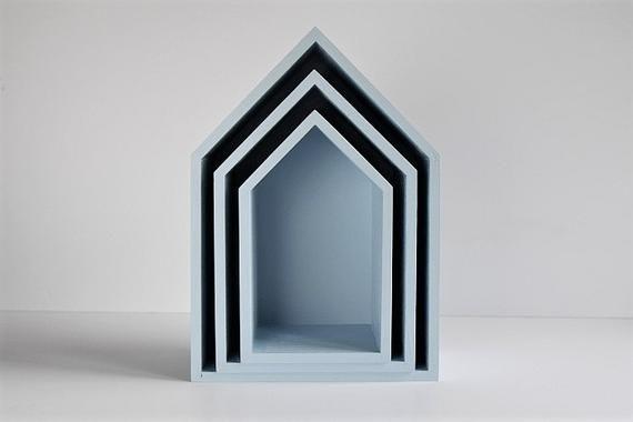 House Shelf House Shaped Shelf Set Of 3 Nursery Shelves Etsy