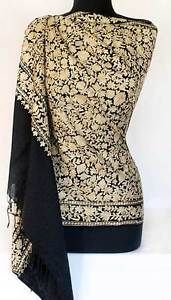Crewel-Embroidered-Wool-Shawl-Gold-Embroidery-on-Black-Kashmir-Ari-Stole-Wrap